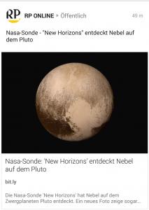 """Screenshot aus News App mit Überschrift und Beschreibung, die jeweils wörtlich wiederholen: """"Nasa Sonde New Horizons entdeckt Nebel auf dem Pluto"""